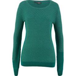 Sweter w strukturalny wzór bonprix dymny szmaragdowy. Niebieskie swetry klasyczne damskie bonprix. Za 59,99 zł.