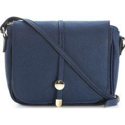 Torebki klasyczne damskie: Skórzana torebka w kolorze granatowym – 25 x 23 x 7 cm