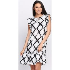 Sukienki: Czarno-Biała Sukienka Tarragon