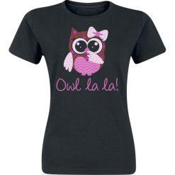 Owl La La! Koszulka damska czarny. Czarne t-shirty damskie Owl La La!, xxl, z nadrukiem, z okrągłym kołnierzem. Za 54,90 zł.