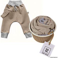 Spodnie niemowlęce: Spodnie baggy szelka beż
