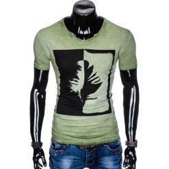 T-SHIRT MĘSKI Z NADRUKIEM S895 - OLIWKOWY. Zielone t-shirty męskie z nadrukiem marki Ombre Clothing, m. Za 39,00 zł.