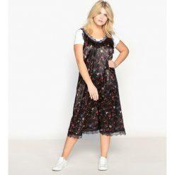Długie sukienki: Sukienka średniej długości, w kwiaty, z koronką