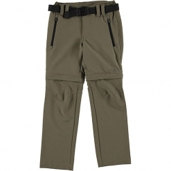 Spodnie Zipp-Off w kolorze jasnobrązowym. Brązowe spodnie chłopięce marki CMP Kids, w paski, z materiału. W wyprzedaży za 87,95 zł.