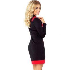 NIKI sukienka z trzema zamkami - CZARNA + czerwone zamki. Czerwone sukienki na komunię marki numoco, s, z materiału, z golfem. Za 159,99 zł.