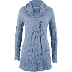 Tunika kreszowana, długi rękaw bonprix matowy niebieski. Niebieskie tuniki damskie z długim rękawem bonprix. Za 89,99 zł.
