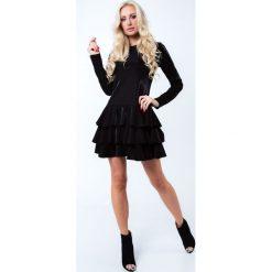 Sukienki: Sukienka z falbanami czarna 6650