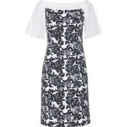 Sukienka bonprix biało-czarny w kwiaty. Białe sukienki dzianinowe bonprix, w kwiaty, z kołnierzem typu carmen, dopasowane. Za 129,99 zł.
