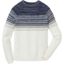 Sweter w cieniowanym kolorze Regular Fit bonprix biel wełny - niebiesko-jasnoniebieski. Białe swetry klasyczne męskie marki bonprix, l, z dzianiny. Za 74,99 zł.