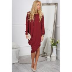 Sukienki: Bordowa Sukienka Oversize 1027