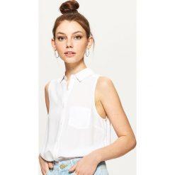 Odzież damska: Gładka koszula bez rękawów – Biały