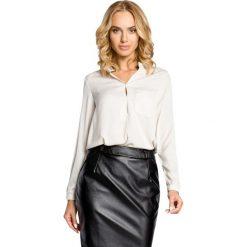 Bluzki damskie: Beżowa Koszulowa Bluzka ze Stójką