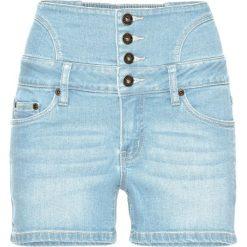 """Szorty damskie: Szorty dżinsowe z wysoką talią bonprix jasnoniebieski """"bleached"""""""