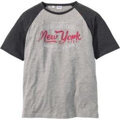 T-shirty męskie z nadrukiem: T-shirt z rękawami reglanowymi Regular Fit bonprix jasnoszary melanż  – ciemnoniebieski