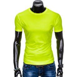 T-SHIRT MĘSKI BEZ NADRUKU S883 - ŻÓŁTY. Zielone t-shirty męskie z nadrukiem marki Ombre Clothing, na zimę, m, z bawełny, z kapturem. Za 19,99 zł.