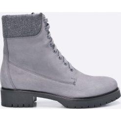 Gino Rossi - Botki. Szare buty zimowe damskie marki Gino Rossi, z materiału, z okrągłym noskiem, na obcasie, na sznurówki. W wyprzedaży za 249,90 zł.