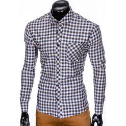 KOSZULA MĘSKA W KRATĘ Z DŁUGIM RĘKAWEM K422 - BEŻOWA/BRĄZOWA. Zielone koszule męskie na spinki marki Ombre Clothing, na zimę, m, z bawełny, z kapturem. Za 49,00 zł.