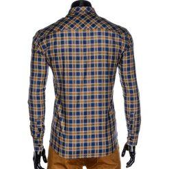 KOSZULA MĘSKA W KRATĘ Z DŁUGIM RĘKAWEM K418 - GRANATOWA/ŻÓŁTA. Brązowe koszule męskie na spinki marki Ombre Clothing, m, z aplikacjami, z kontrastowym kołnierzykiem, z długim rękawem. Za 59,00 zł.