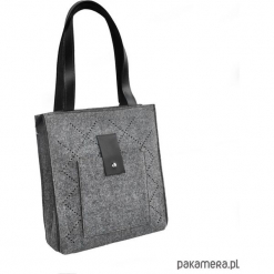 TOP GLAM - torebka dziurkowana ze skórą - szara. Szare torebki klasyczne damskie Pakamera, ze skóry. Za 160,00 zł.