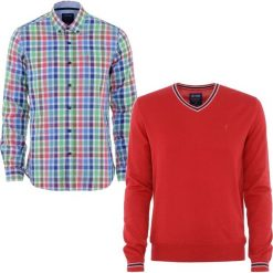 ZESTAW SWETER + KOSZULA. Czerwone koszule męskie na spinki Ochnik, na lato, m, w kolorowe wzory, z bawełny, button down. Za 259,90 zł.