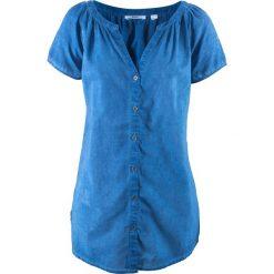 """Bluzki damskie: Bluzka bawełniana """"cold-dyed"""", krótki rękaw bonprix lazurowy"""
