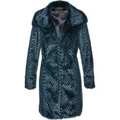 Płaszcze damskie: Płaszcz ze sztucznego futerka bonprix czarno-zielony z nadrukiem