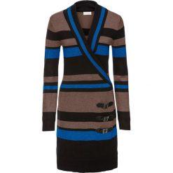 Sukienka dzianinowa bonprix brązowy w paski. Niebieskie sukienki dzianinowe marki Molly.pl, l, dopasowane. Za 49,99 zł.