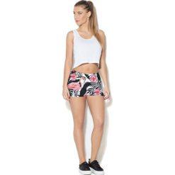 Spodnie damskie: Colour Pleasure Spodnie damskie CP-020 269 biało-czarno-różowe r. XS-S
