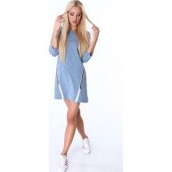 Sukienka z ozdobną taśmą niebieska 3778. Niebieskie sukienki Fasardi, l. Za 61,00 zł.