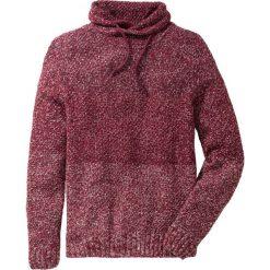 Sweter z szalowym kołnierzem Slim Fit bonprix czerwony melanż. Czerwone swetry klasyczne męskie marki bonprix, l, z aplikacjami. Za 74,99 zł.
