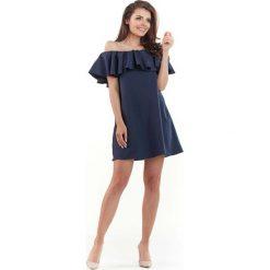 Granatowa Wyjściowa Sukienka Mini Typu Hiszpanka. Szare sukienki hiszpanki marki Molly.pl, l, w koronkowe wzory, z koronki, eleganckie, z dekoltem typu hiszpanka, z krótkim rękawem, midi, dopasowane. Za 119,90 zł.