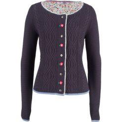 Sweter rozpinany z kwiatowym haftem bonprix jagodowy. Fioletowe kardigany damskie marki bonprix, z haftami. Za 79,99 zł.