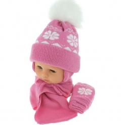 Czapka niemowlęca z szalikiem i rękawiczkami CZ+S+R 012B. Różowe czapeczki niemowlęce Proman. Za 46,14 zł.