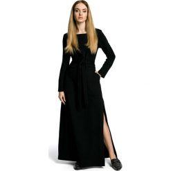 Czarna Sukienka Dresowa Maxi z Dekoltem Caro z Rozcięciem. Czarne długie sukienki marki Molly.pl, l, w paski, z bawełny, oversize. Za 149,90 zł.