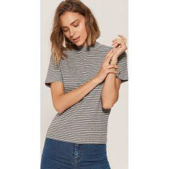 Koszulka z półgolfem - Jasny szar. Niebieskie t-shirty damskie marki House, m. Za 35,99 zł.
