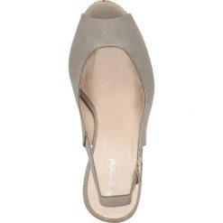 Czółenka AURORA. Szare buty ślubne damskie marki Gino Rossi, w paski, z nubiku, na wysokim obcasie, na koturnie. Za 199,90 zł.