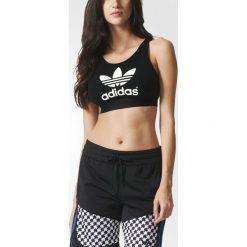 Adidas Originals Koszulka damska Top Trefoil Top czarna r. 34  (AJ8110). Szare topy sportowe damskie marki adidas Originals, na co dzień, z nadrukiem, z bawełny, casualowe, z okrągłym kołnierzem, proste. Za 112,74 zł.