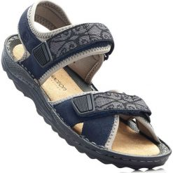 Sandały trekkingowe ze skóry bonprix ciemnoniebieski. Niebieskie buty trekkingowe damskie marki bonprix, ze skóry. Za 139,99 zł.