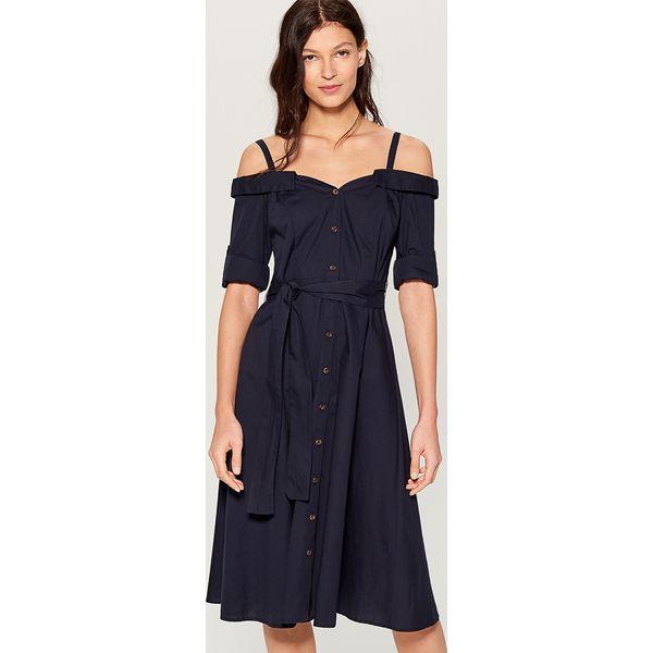 6e93115577 Sukienka midi z odkrytymi ramionami - Niebieski - Niebieskie ...