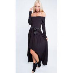 Sukienka maxi asymetryczna czarna 3702. Czarne sukienki marki Fasardi, l, z asymetrycznym kołnierzem, maxi, asymetryczne. Za 89,00 zł.