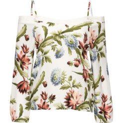 """Bluzka """"carmen"""" z koronką bonprix biel wełny w kwiaty. Białe bluzki asymetryczne bonprix, w koronkowe wzory, z koronki, z kołnierzem typu carmen, na ramiączkach. Za 44,99 zł."""