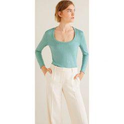 Mango - Bluzka Mecano. Szare bluzki z odkrytymi ramionami Mango, l, z dzianiny, casualowe, z okrągłym kołnierzem. Za 69,90 zł.