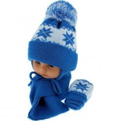 Czapka niemowlęca z szalikiem i rękawiczkami CZ+S+R 014C. Niebieskie czapeczki niemowlęce Proman. Za 46,14 zł.