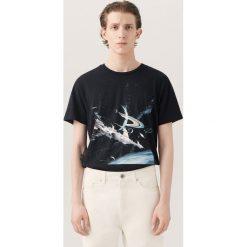 T-shirty męskie z nadrukiem: T-shirt z nadrukiem sci-fi re.design – Czarny
