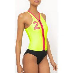 Stroje kąpielowe damskie: Kostium kąpielowy jednoczęściowy, z zamkiem, trzykolorowy, fluorescencyjny