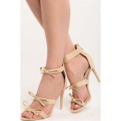 Beżowe Sandały Lumos. Brązowe sandały damskie marki Born2be, w paski, na wysokim obcasie, na szpilce. Za 59,99 zł.