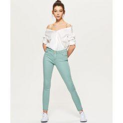 Spodnie z wysokim stanem: Spodnie high waist skinny – Turkusowy