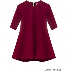 Sukienka dresowa dziecięca typu klosz bordo. Czerwone sukienki dziewczęce marki Pakamera, z dzianiny. Za 69,00 zł.