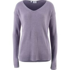 Swetry oversize damskie: Sweter oversize z rozcięciem bonprix dymny fioletowy