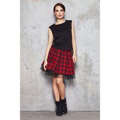 Spódnice wieczorowe: Czerwono-czarna Efektowna Spódnica w Kratkę z Tiulową Wypustką